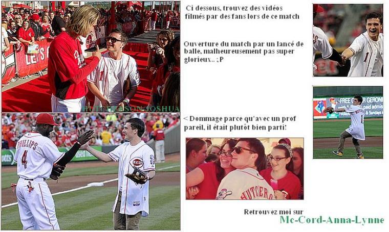 7 avril 2012 : Josh a ouvert le match de baseball opposant l'équipe de Cincinnati (les Reds) à l'équipe Marlins de Miami