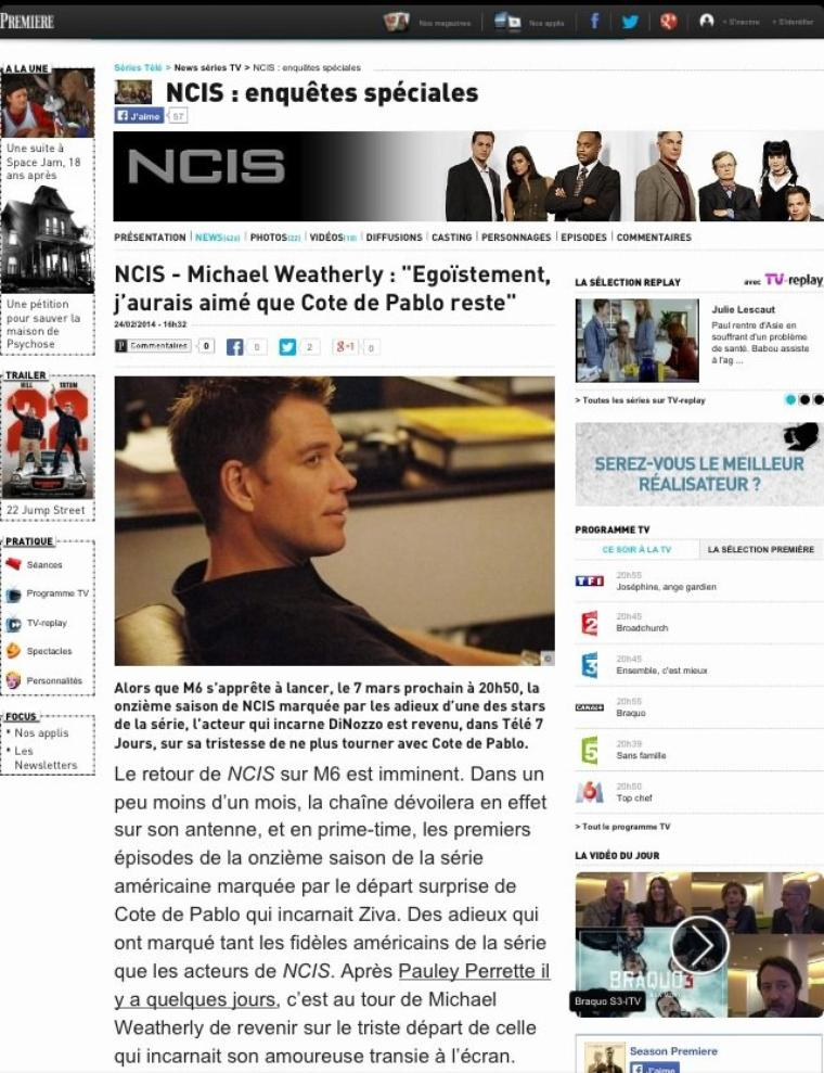 Interview de Michael Weatherly sur le depart de Cote de Pablo