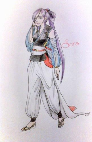 Aoko et Sora en ce qui ressemble à un kimono/