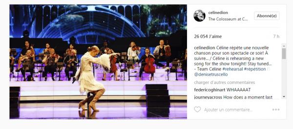 Céline répète une nouvelle chanson pour son spectacle de ce soir ! À suivre...