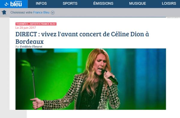 DIRECT sur France bleu : vivez l'avant concert de Céline Dion à Bordeaux de 16h a 19h