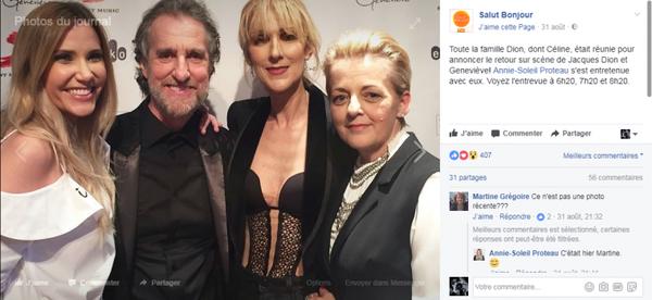 Toute la famille Dion, dont Céline, était réunie pour annoncer le retour sur scène de Jacques Dion et Geneviève! Annie-Soleil Proteau s'est entretenue avec eux.