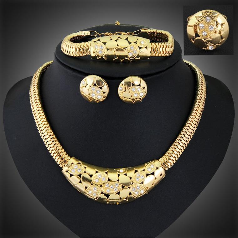 Mode colliers Bracelets boucles d'oreilles bagues bijoux dames mode ensembles de bijoux pour femmes dubaï plaqué or ensemble de bijoux