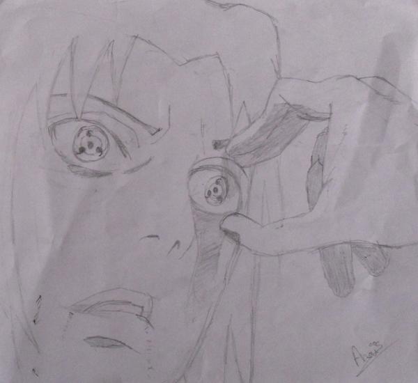 Itachi arrache l'oeil de son frère