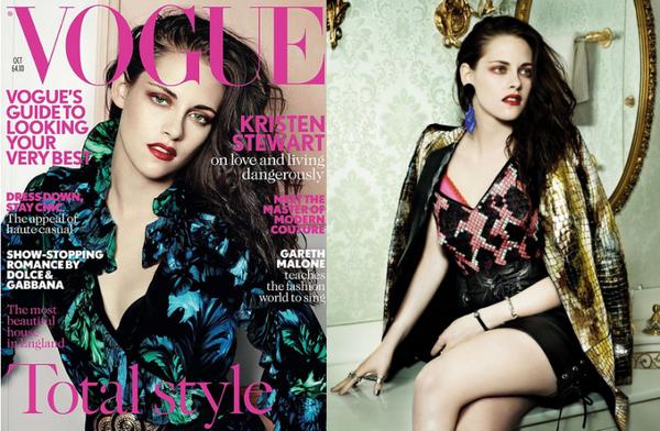 Kristen en couverture de Vogue (uk) d'octobre 2012 Photos : Mario Testino.