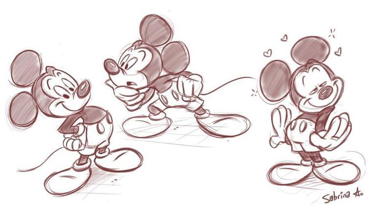 Et pour commencer ,des croquis du héros de disney,j'ai nommé Mickey mouse