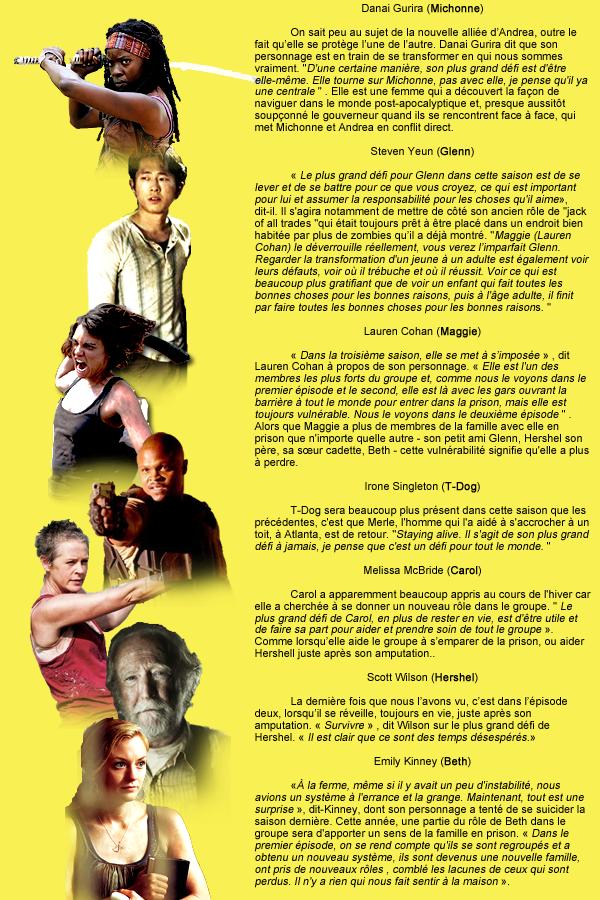 Personnages : Les acteurs parlent de leurs défis.