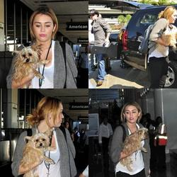 27.09.11 Miley à l'aeroport de LAX