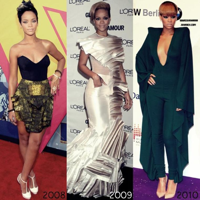 D I V E R S :-----Evolution du look de Rihanna sur les tapis rouges.----- Une préférence ?