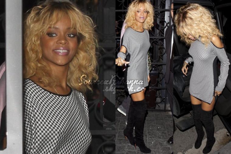 Après avoir assistée au Grammy's, Rihanna s'est rendue au restaurant « Giorgio Baldi » pour ensuite allée au club « Greystone » avec son frère Rorrey à Los Angeles.