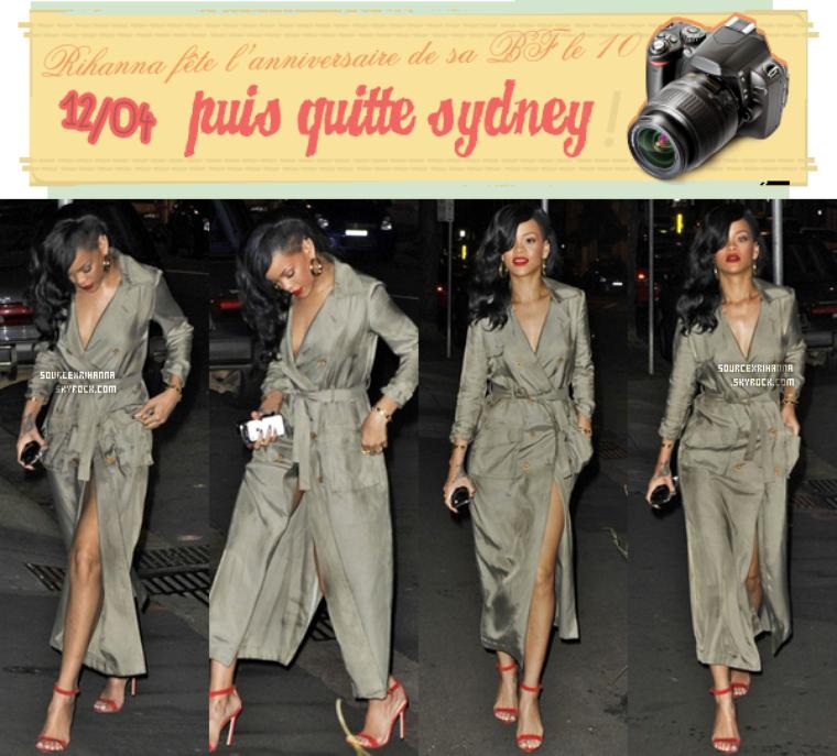 Rihanna se rend au restaurant, le lendemain quitte la ville de Sydney !