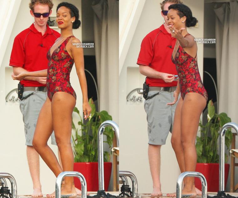26JUILLET// Rihanna vue sur son yacht avec ses amies à Eze Sur Mer en France.