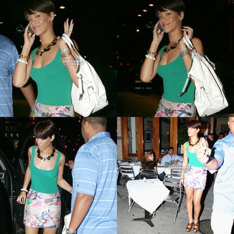 16/06/08: Magnifique Rihanna partait manger au restaurant Da Silvano.