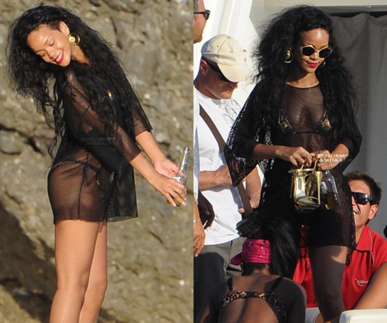 28JUILLET// Rihanna accompagné de ses amies sur un bateau à Portofino en Italie.