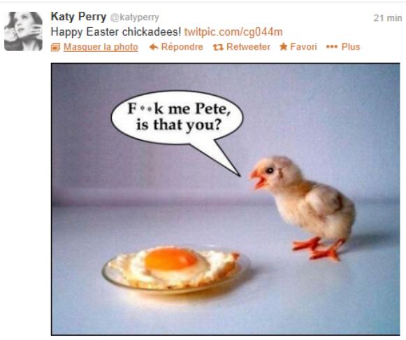 30/03 : Katy en version jog' avec ses amis // 29/03 : Katy aux Capitol Records //  Deux nouveaux Tweets (Spécial Pâcques !) // + INFOS