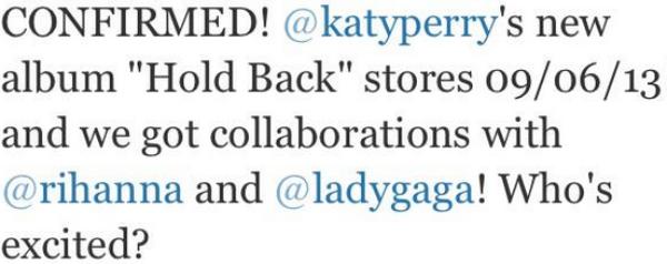 Le nouvel album, on sait enfin sa date de sortie !! //  Tout les petits Tweets récents et intéressants de Katy // + Petites rumeurs...