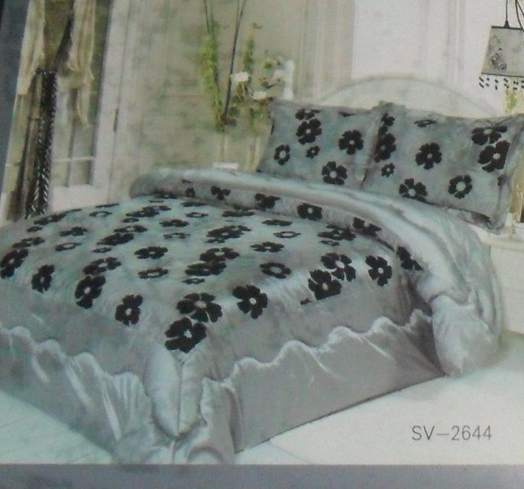 couvre lit gris  2 personnes  230 sur 250