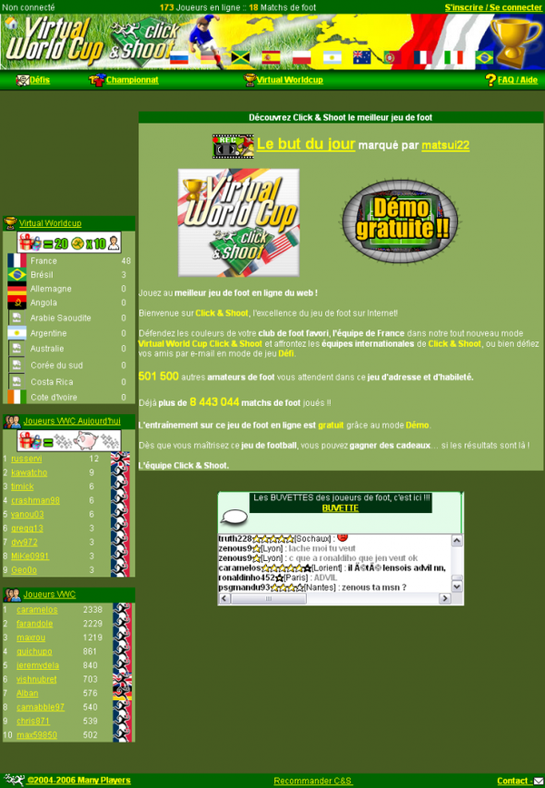 Pages de la Virtual World Cup
