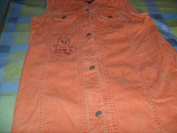 ROBE VELOURS ORANGE BRODERIE MAIN-point de tige)