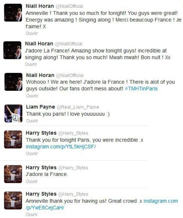 ● One Direction ; Twitter Paris Bercy / Amnéville ● ღ