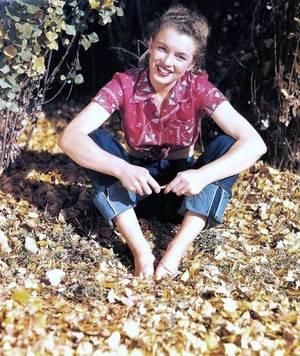 """Norma Jeane en 1945 photographiée par André De DIENES : mini-bio du photographe : André De DIENES rencontra Marilyn en novembre 1945. Né en 1913 en Hongrie, machiniste d'opérettes à Budapest, il avait été remarqué, alors qu'il photographiait des statues dans un jardin parisien, par un couturier anglais, Edward MOLYNEUX, qui lui propose de devenir le photographe attitré de sa maison. DIENES travaille aussi pour """"Vogue"""", """"Harper's Bazaar"""", signe des reportages sur les Noirs à Harlem ou les Indiens de tribus disséminées dans les Etats-Unis, lorsqu'il s'installe dans un hôtel-d'Hollywood, """"le jardin d'Allah"""". C'est là que, un jour, une certaine Norma Jeane BAKER, 19 ans, entre dans sa chambre vêtue d'un pull rose pâle moulant et, avec un ruban rose dans les cheveux. DIENES, qui trouve qu'elle ressemble à """"un ravissant lapin de Pâques"""", est subjugué. Ils décident de partir en voyage ensemble pour effectuer dans les vastes étendues de l'Ouest des portraits glamour et des photos déshabillées ... DIENES raconte le périple ... Particulièrement touchantes sont les descriptions de certaines séances : ... ses désespoirs, ses demandes d'amour et d'affection, ses dérobades. Le reste est affaire de magie, de mystère, de lumière."""