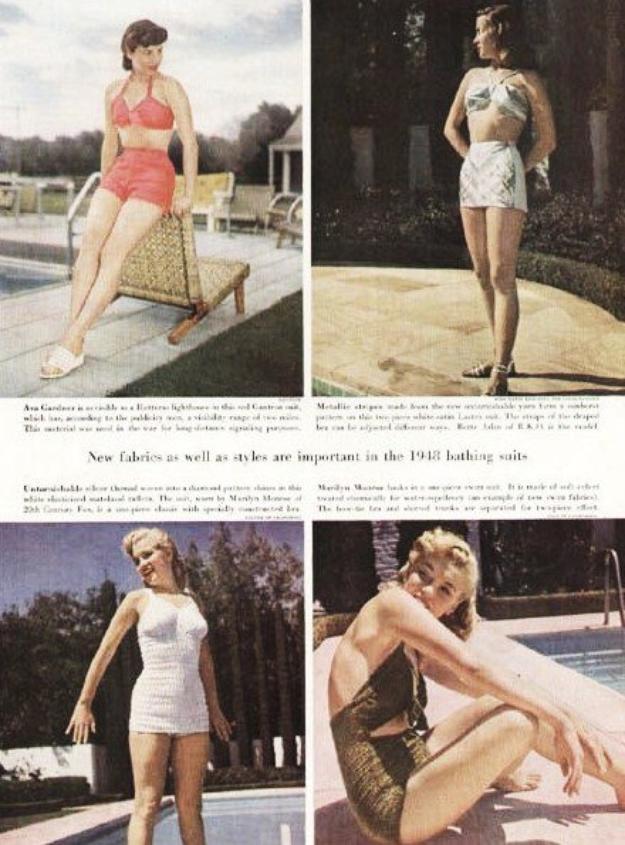 """Le magazine """"Holiday"""" de Février 1948 publie 2 clichés de Marilyn présentant des maillots de bain (photos du bas)."""