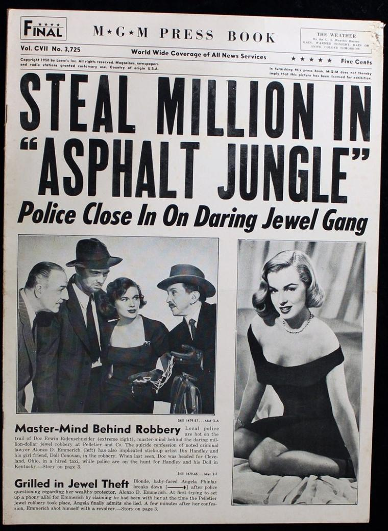 """AFFICHES mondiales du film """"The asphalt jungle""""."""