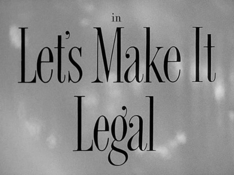 """1951 : """"Let's make it legal"""" (Chéri divorçons) de Richard SALE. Synopsis / Après 20 ans de mariage et une fille maintenant adulte, mariée et mère, Miriam HALSWORTH a demandé et obtenu le divorce de son mari Hugh, directeur d'hôtel mais aussi spécialiste en rosiers, en raison de son indifférence et surtout de son addiction au jeu. Leur fille et beau-fils connaissent aussi quelques tensions légères parce qu'ils habitent dans la maison des parents de celle-là. Alors que le divorce va devenir effectif, Victor MacFARLAND, un ancien béguin de Miriam, entre en scène : il est riche, il est puissant et il est déterminé à reconquérir Miriam. Mais Hugh veut aussi regagner le c½ur de sa femme. Cependant un mystère plane : alors que, 20 ans auparavant, le c½ur de Miriam hésitait, Victor s'en est allé sans mot dire, amenant celle-là à épouser Hugh. Miriam veut connaître (et apprendra) la raison de ce départ pressant : elle en sera d'abord choquée puis soulagée. Après plusieurs quiproquos et aller-retour dans la tête et le c½ur de Miriam entre ses deux hommes (mariage oui, mariage non), tout se terminera bien. APPARITIONS de Marilyn dans le film : Dans un maillot de bain une pièce, elle apparaît à la 10e minute du film à la piscine de l'hôtel. Même si Hugh a pris des photos d'elle, on n'aura que des doutes sur la nature de leur relation. Sur un golf, Marilyn vient s'inquiéter auprès de Hugh quant à son futur rendez-vous avec le millionnaire Victor..."""