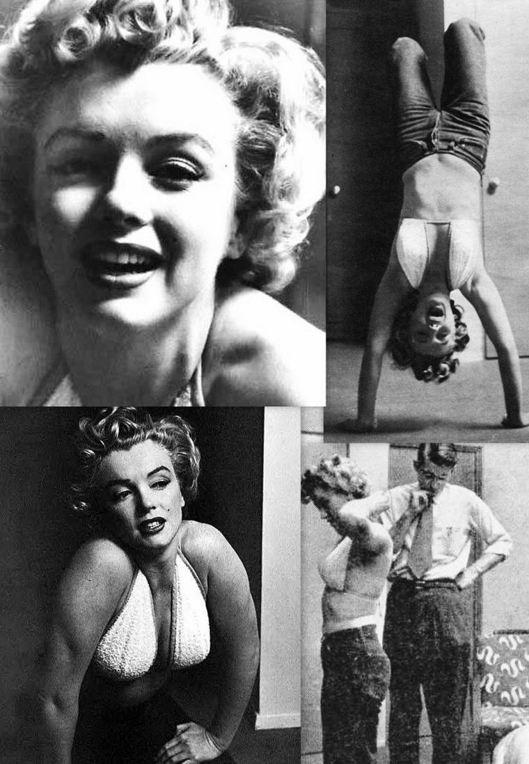 1952, Marilyn fait du sport dans son studio sous l'oeil de Philippe HALSMAN.
