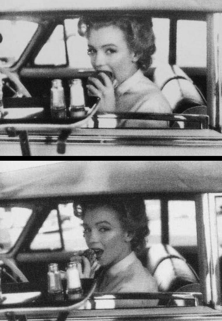 1952, sous l'oeil du photographe Philippe HALSMAN, Marilyn déambule dans les rues de Hollywood, puis va se restaurer dans un fast-food par le drive-in.