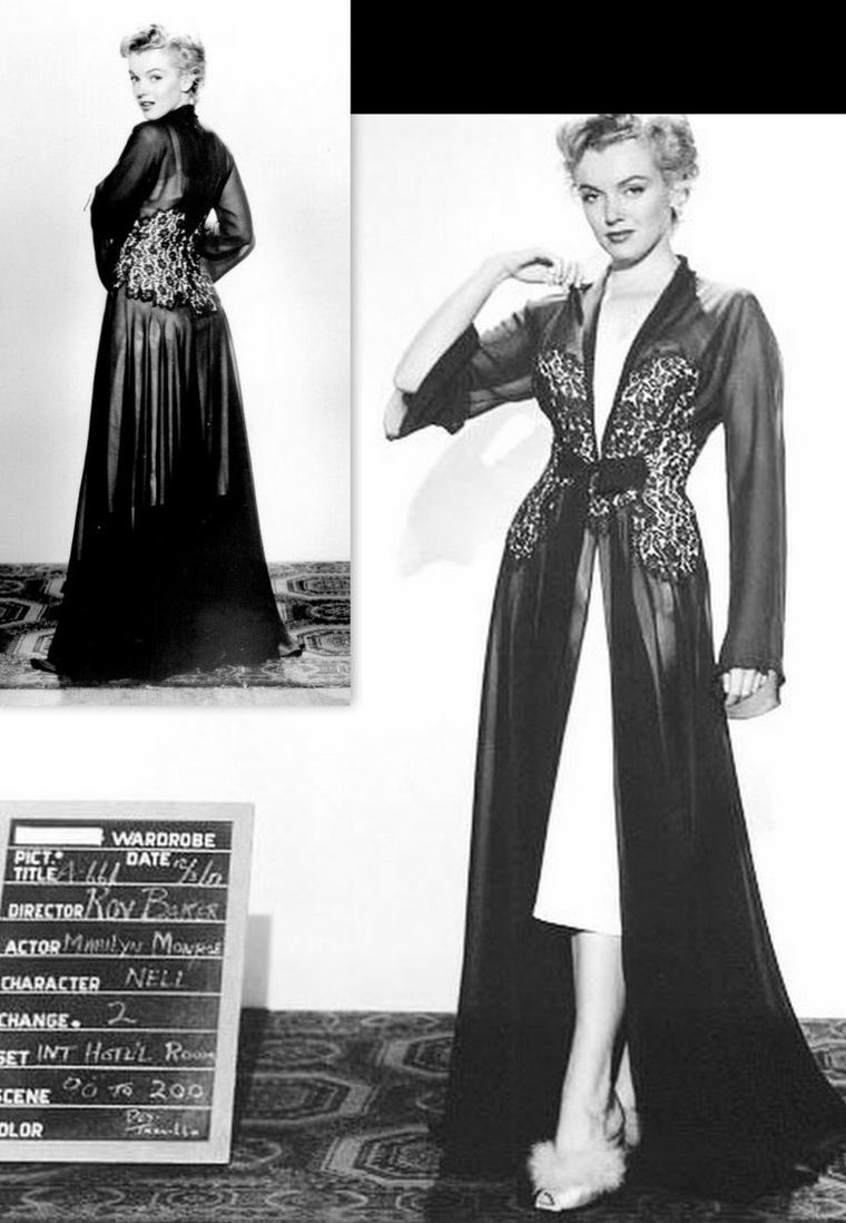 "1952, ESSAIS COSTUMES pour le film ""Don't bother to knock""."