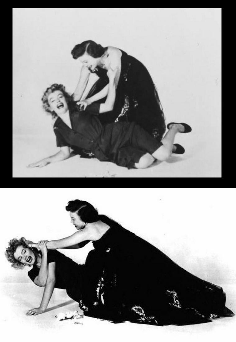 """1952, photos promotionnelles du film """"Don't bother to knock"""" où Marilyn pose aux côtés de Richard WIDMARK, Lurene TUTTLE (photo) et Donna CORCORAN (la petite fille)."""