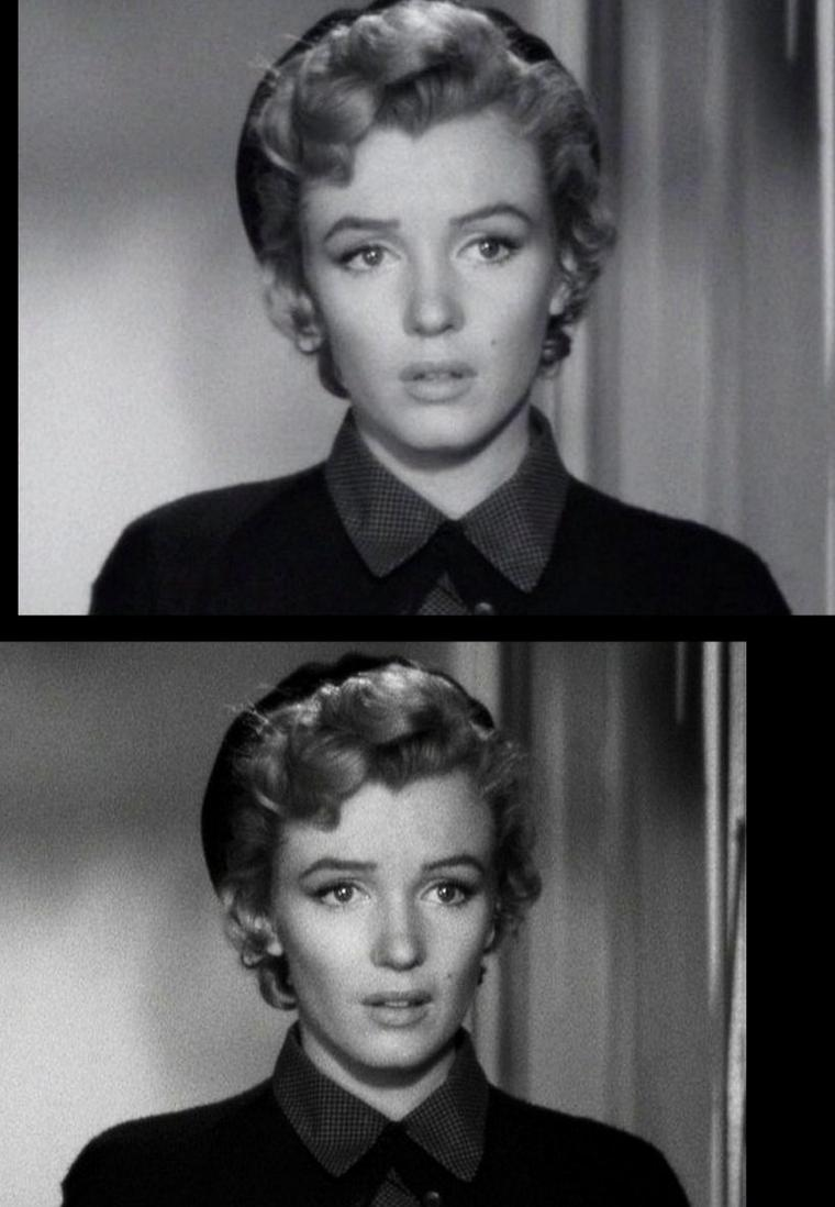 """1952, """"Don't bother to knock"""" (Troublez moi ce soir) de Roy BAKER / SYNOPSIS / Dans un hôtel à New York, une femme, Lyn, semble attendre un homme. Il s'avère qu'elle est la chanteuse du bar de cet hôtel et entonne une chanson romantique pour la clientèle. Dans sa chambre du même hôtel, Jed relit une lettre de rupture. Lyn et Jed étaient ensemble. Nell (Marilyn) arrive à l'hôtel car son oncle Eddie, qui y est liftier, lui a trouvé un job de baby sitter pour la soirée. Elle va prendre soin de la petite Bunny pendant que ses parents sortent. Jed descend écouter Lyn. Ils discutent et Lyn lui reproche notamment son caractère froid et cynique: elle confirme qu'ils doivent se séparer. Au même moment, Nell a un comportement peu conforme car elle fouille dans les affaires de la maman de la petite - maintenant couchée - et essaye même des bijoux..."""