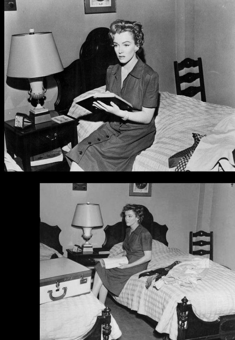 """1952, """"Don't bother to knock"""" (Troublez moi ce soir) de Roy BAKER / SYNOPSIS part 2 / Retourné dans sa chambre, Jed aperçoit par la fenêtre une belle jeune femme également cliente de l'hôtel. C'est Nell. Ils entrent en contact par téléphone. Eddie la surprend portant un déshabillé de la maman absente ainsi que des bijoux. Il la somme de tout remettre en place. Jed, avec sa bouteille de Bourbon, vient frapper à la porte de Nell. Avant qu'elle n'ouvre, on peut apercevoir de bizarres traces sur ses deux poignets... Leur rencontre se développe sur un ton étrange où l'on apprend que Nell a perdu pendant la guerre son fiancé, pilote, mais cela finit par un baiser tout de même puisque Jed mentionne qu'il est pilote d'avion lui aussi. Ils sont surpris par la petite fille qui ne dormait pas. Cette apparition éveille quelques soupçons chez Jed qui croyait Nell seule et, ensuite, une tragédie est même évitée. Les parents, insouciants, sont toujours à leur soirée..."""