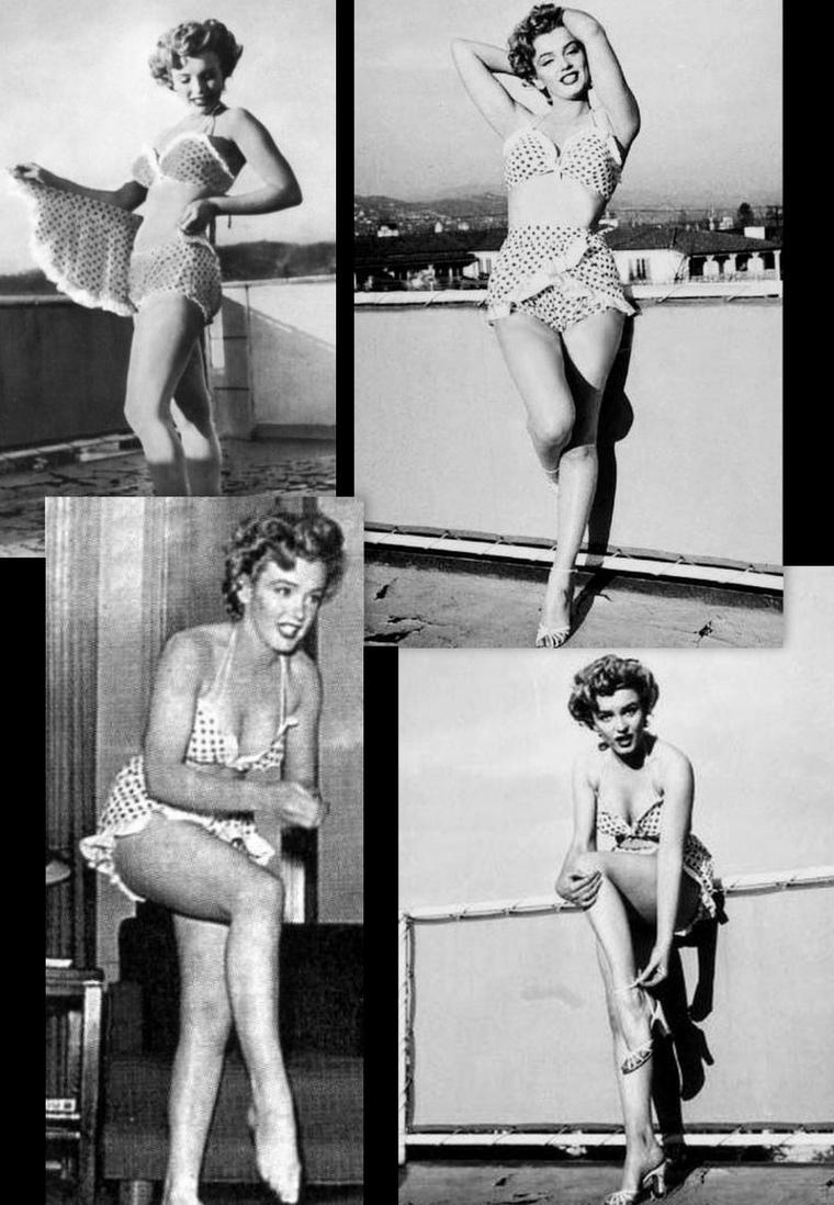 """1952, Marilyn pose sur la terrasse du """"Beverly-Carlton Hôtel"""" dans le bikini à pois qu'elle portait dans le film """"Love nest""""."""