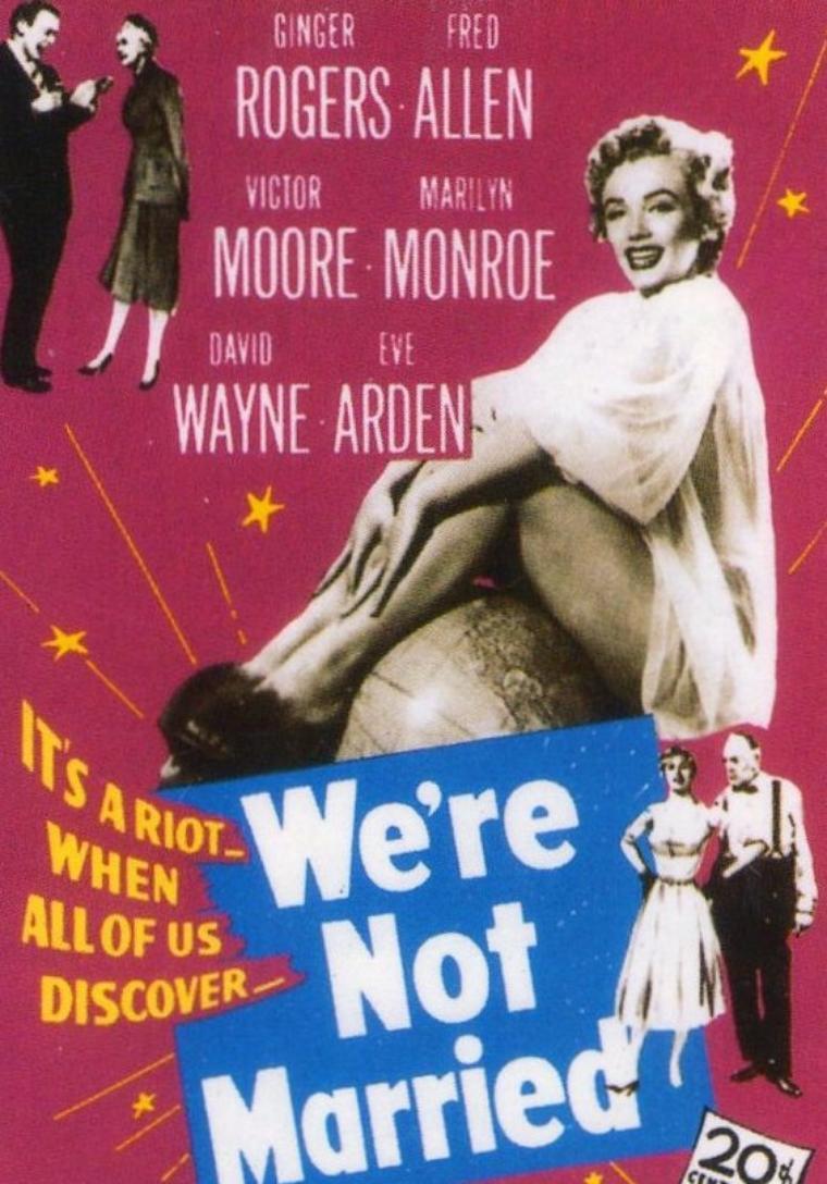 """1952, AFFICHES mondiales du film """"We're not married"""" (Cinq mariages à l'essai) d'Edmund GOULDING. (dont 1 photo de Ginger ROGERS et Fred ALLEN, deux des acteurs du film)."""