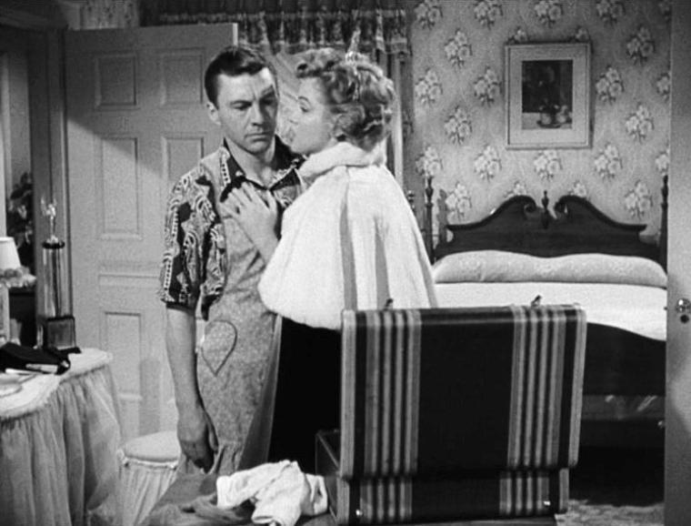 """1952,""""We're not married"""" (Cinq mariages à l'essai) d'Edmund GOULDING / SYNOPSIS (part 3) / Le riche homme d'affaires Freddie MELROSE se fait piéger par sa femme Eve alors qu'il n'est coupable d'aucun adultère. Elle réclame le divorce et au moins la moitié de sa fortune. Freddie reçoit la lettre qui l'informe qu'officiellement il n'a pas convolé... Le cinquième et dernier couple est séparé pour cause d'engagement militaire. Sur le quai de la gare, Willie FISCHER apprend que Patsy est enceinte et plus tard dans le train, par une lettre, qu'ils ne sont pas mariés : il ne veut pas que son enfant naisse sans père..."""