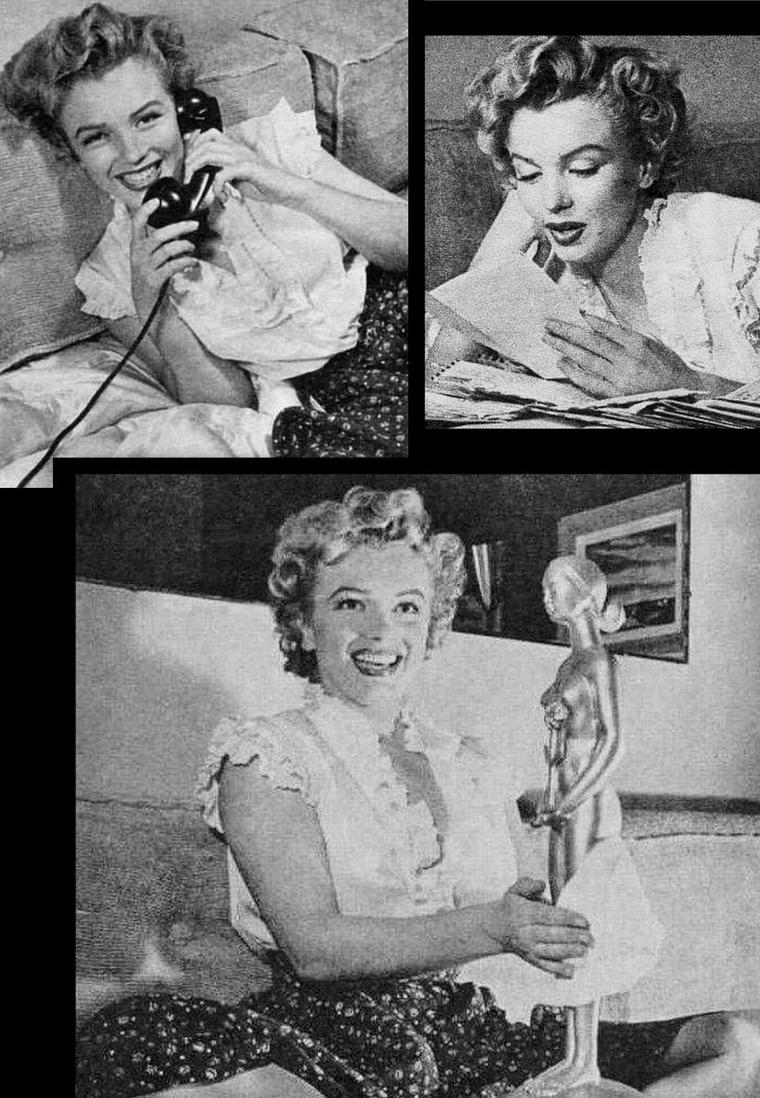 1952, diverses photos de Marilyn non classées, notamment avec Natasha LYTESS, son professeur d'Art Dramatique ou encore avec Phil MOORE, son professeur de chant et William TRAVILLA, son costumier (dernière photo).