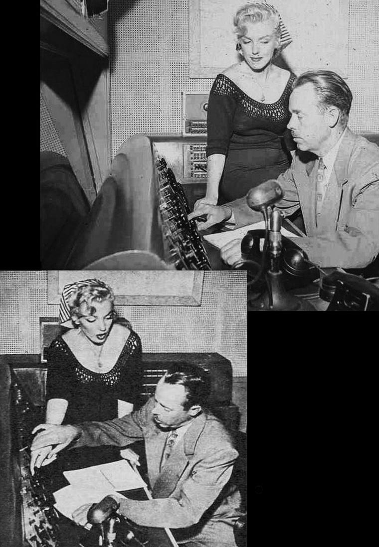 """Le 21 août 1952 Marilyn enregistre dans l'émission de radio """"Statement in full"""" sur la station NBC un spécial """"Hollywood Star Playhouse"""" en différé. On lui fait visiter les locaux de la station radio qui se trouve à Manhattan, dans New-York, et on lui montre le fonctionnement de l'enregistrement d'une émission, avec toutes les techniques et matériels utilisés. Quand à l'émission, elle sera diffusée sur les ondes dix jours plus tard, le 31 août."""