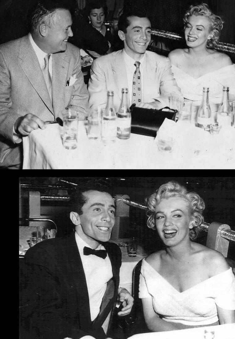 """1952, """"O'Henry's full house"""" (La sarabande des pantins) / C'est le 18ème film de Marilyn, 7ème au générique, dans un tout petit rôle d'une ou deux minutes à l'écran, en péripatéticienne d'un certain rang. Sa scène : Dans la rue, devant un magasin de tapis orientaux, elle se fait aborder par un clochard. (photos du film et de Charles LAUGHTON jouant le rôle du clochard et Marilyn entourée d'Al MARTINO et Henry HATHAWAY à la fin du tournage, qui lui proposera d'être Rose LOOMIS dans son prochain film """"Niagara"""")."""