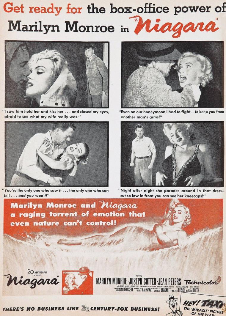 "AFFICHES MONDIALES du film ""Niagara"" de Henry HATHAWAY, film sorti en 1953 (part 2)."