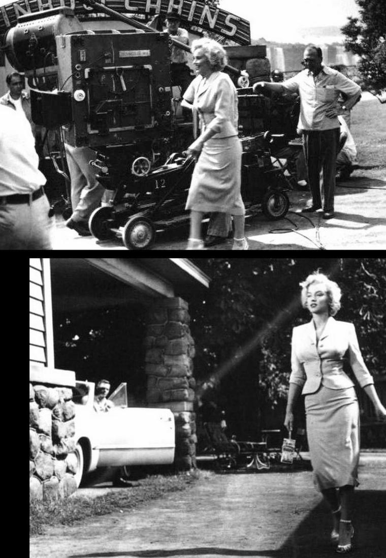 """1952 """"Niagara"""" d'Henry HATHAWAY / Commentaire / C'est l'histoire banale d'un homme trompé qui assassine l'amant de sa femme, avant d'étrangler l'épouse infidèle, puis de se précipiter vers la mort. Le film a deux stars, Marilyn MONROE et les chutes du Niagara, qui se magnifient l'une et l'autre. HATHAWAY conserva un excellent souvenir de sa collaboration avec l'actrice."""