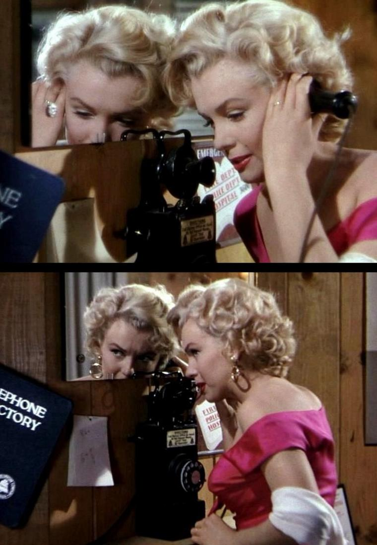 """1952-53 """"Niagara"""" d'Henry HATHAWAY / Commentaire (part 4) / La réussite artistique du film se situe aussi à ce niveau : l'originalité du traitement visuel apporté par HATHAWAY à un sujet propre au film d'atmosphère, si bien représenté à cette époque de l'âge d'or hollywoodien. """"Niagara"""" reste plutôt un thriller aux accents de film noir, servi par une réalisation faisant la part belle à une certaine rigueur documentaire, marque de fabrique de Henry HATHAWAY dans les années 40 et 50. Le cinéaste opte souvent pour une approche documentée de l'univers à dépeindre. On peut remarquer le soin qu'il apporte à décrire le paysage des chutes du Niagara, ainsi que la petite ville où se situe l'action. Grâce à des plans larges, on déambule en plein jour dans les rues, on suit le parcours touristique en observant les différents corps de métier. On suit également, avec la même méticulosité, les allées et venues des protagonistes prisonniers de leurs destins. HATHAWAY prend son temps et inscrit parfaitement son intrigue dans un cadre qui amène le spectateur à parfaitement comprendre la géographie des lieux et des personnages..."""