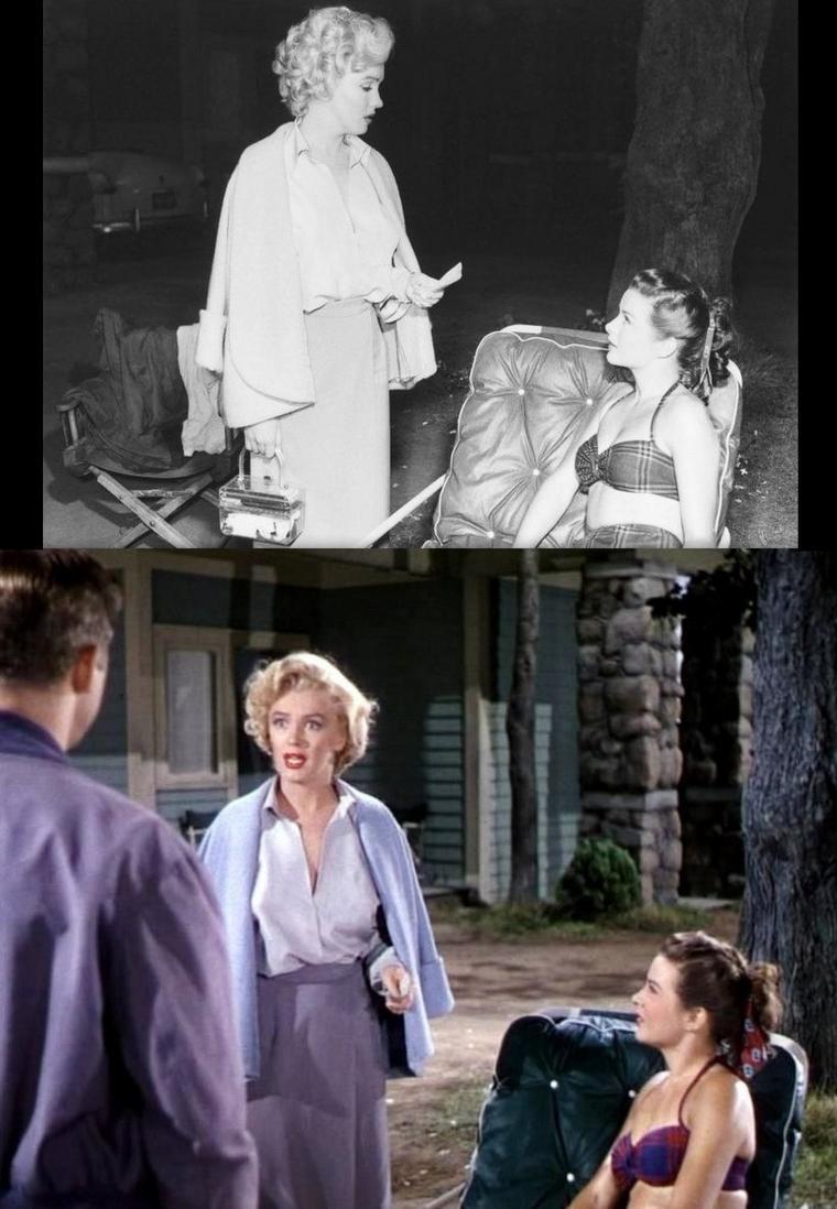 """1952-53 """"Niagara"""" d'Henry HATHAWAY / A propos de Marilyn / Jusqu'à la sortie de """"Niagara"""" en 1953, Marilyn MONROE avait une carrière plutôt fade avec des comédies de second rang tel que """"Chérie, je me sens rajeunir"""" (""""Monkey Business"""", 1952), """"Cinq mariages à l'essai"""" (""""We're Not Married"""", 1952) ou """"Chéri, divorçons"""" (""""Let's Make It Legal"""", 1951) si elle n'était pas elle-même au second plan dans les films (""""Eve"""", """"Quand la ville dort"""", 1950). """"Niagara"""" marque un tournant. Marilyn, icône plastique des Etats-Unis devient une femme fatale à l'image de Rita HAYWORTH (""""Gilda"""", 1946) ou de Lauren BACALL (""""The Big Sleep"""", 1946). Sensuelle et prédatrice. Dans """"Niagara"""", l'intrigue ne démarre que quand Rose LOOMIS est suprise en train d'embrasser son amant. Outre la relation adultérine, le personnage manipulateur de Rose se révèle des plus intrigants. Outre ses formes attirantes et son regard d'ange, Marilyn interprète une femme insensible à la détresse affective de son mari mais irrésistible en même temps. L'image de blonde platine simpliste se dissipe pour laisser place à une femme de caractère."""