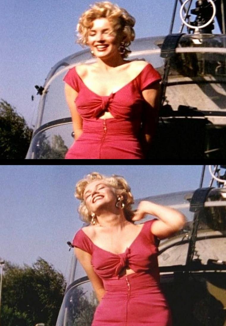 """On termine cette année 1952, qui fut riche en évènements et pour la notoriété montante de Marilyn grâce à son dernier film """"Niagara"""", avec la fête du musicien Ray ANTHONY (The Ray ANTHONY party) / La fête s'est tenue dans une villa de Sherman Oaks, dans le district de Los Angeles, situé dans la vallée de San Fernando. Marilyn, vêtue de la robe rouge du film """"Niagara"""", est arrivée en hélicoptère, puis s'est prêtée au jeu des photographes en faisant mine de jouer de la trompette et de la batterie sous les yeux avisés de Ray ANTHONY et de Mickey ROONEY, pendant que Ray ANTHONY chantait une chanson spécialement dédiée à Marilyn pour cette occasion, intitulée """"My Marilyn"""" . Parmi les nombreux convives, se trouvait aussi Sammy DAVIS Jr. Puis elle a rencontré le chien de la série """"Lassie"""". Les photographes présents: Bob WILLOUGHBY (qui a prit la plupart des photographies), Leni CARLSON et Phil STERN part 3)."""