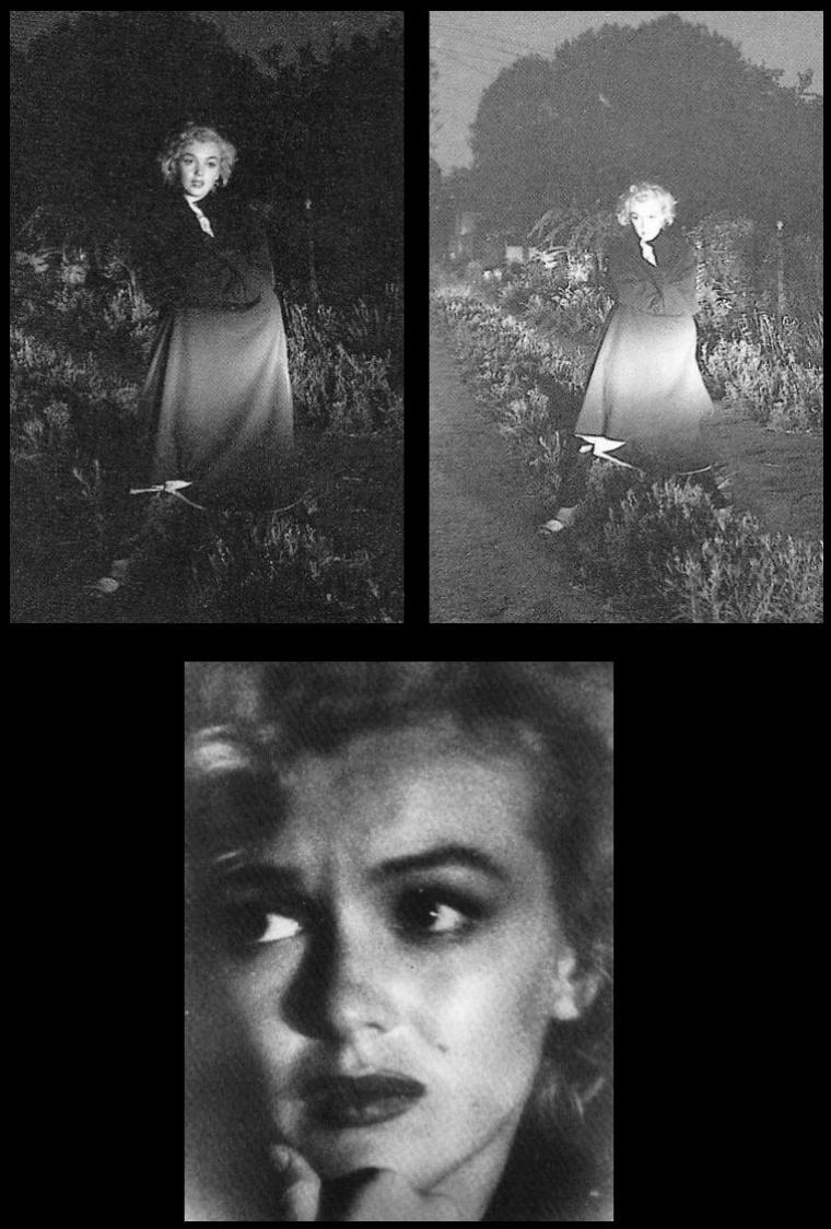 1953 : Dernière session photographique de Marilyn par André De DIENES ; il ne la reverra plus jamais / André De DIENES se souvient :  Tard une nuit, Marilyn me téléphona pour me dire qu'elle n'arrivait pas à dormir. Elle me proposa d'aller faire des photos quelque part dans une ruelle mal éclairée de Beverly-Hills. Elle voulait poser triste et esseulée. Je sortais hors de mon lit, rassemblai mon équipement et nous partîmes prendre des photos toute la nuit. Je n'avais pas de flash et j'éclairai avec mes phares de voiture. Les images qui en résultent sont très mélodramatiques.  Jouait-elle la comédie, était-elle consciente que quelque chose n'allait pas dans sa vie ou sentait-elle que la tragédie l'attendait au tournant ?