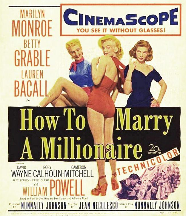 """1953, AFFICHES MONDIALES du film """"How to marry a millionaire"""" (Comment épouser un millionnaire) de Jean NEGULESCO."""