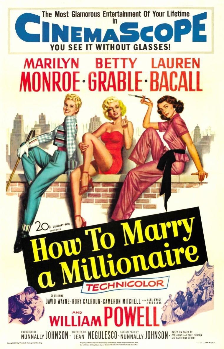 """1953, AFFICHES MONDIALES du film """"How to marry a millionaire"""" (Comment épouser un millionnaire) de Jean NEGULESCO (part2) / photos de Betty GRABLE et Lauren BACALL, les 2 acolytes féminines de Marilyn dans le film."""