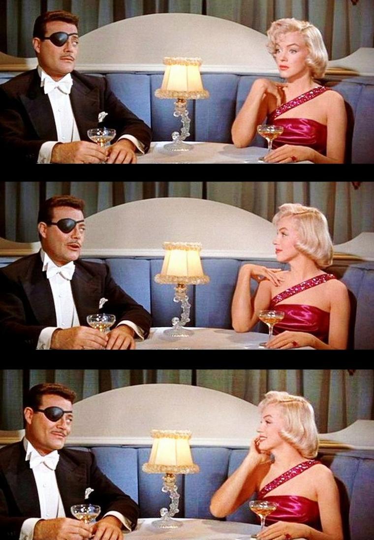 """1953 """"How to marry a millionaire"""" (Comment épouser un millionnaire) de Jean NEGULESCO / Critique / L'intérêt du film provient simplement, une fois de plus, de ses comédiennes. Trois belles stars dont les statuts respectifs sont pourtant bien différents en ce début des années 1950. La superbe, altière et plantureuse Lauren BACALL trône au sommet de sa popularité, la prometteuse et sensuelle Marilyn MONROE déboule en force, prête à incendier Hollywood sur son passage, et Betty GRABLE, la fameuse et très populaire pin-up des années 1940, est sur le déclin. Cette dernière fait d'ailleurs pâle figure devant la classe naturelle de BACALL, qui se révèle être le personnage central du film au grand bonheur de ses admirateurs, et la sensualité comique de MONROE. Marilyn nous offre justement une prestation délicieuse en jouant un personnage affublé d'une forte myopie, honteux de son handicap au point de systématiquement cacher ses lunettes devant les hommes. La voir se cogner aux murs ou parler dans le vide constituent d'ailleurs les rares moments comiques du film. Occasionnellement, le film se permet de jouer avec la légende hollywoodienne. En effet, on voit Lauren BACALL faire allusion à """"The African Queen"""" et à son attirance pour les vieux mâles (Humphrey BOGART en l'occurrence), Betty GRABLE ignorer la chanson de son époux à la ville Harry JAMES, et Marilyn MONROE parler de strangulation en référence à """"Niagara""""..."""