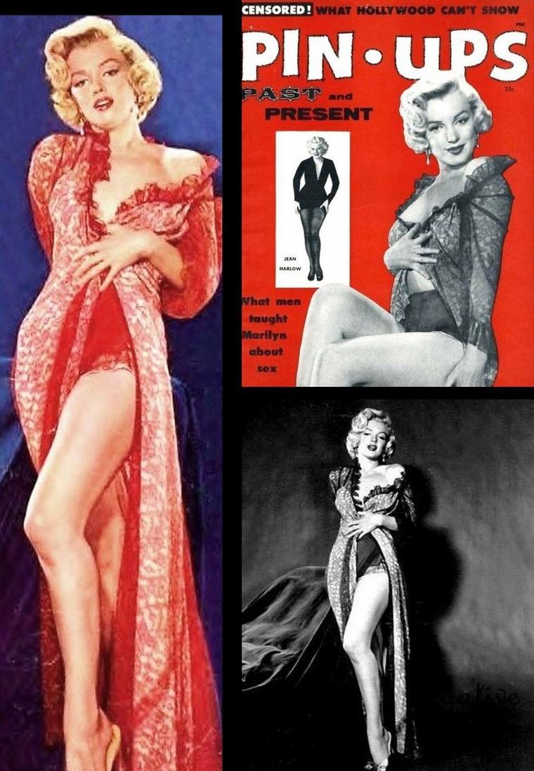 1953, toujours sous l'oeil de John FLOREA, Marilyn pose dans un autre déshabillé de couleur rouge, une de ses couleures préférées.